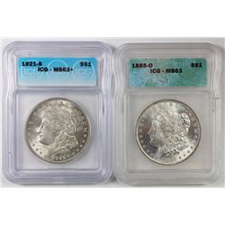 1921-S AND 1885-O MORGAN SILVER DOLLARS