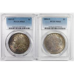 (2) PCGS GRADED MORGAN SILVER DOLLARS MS 63