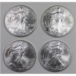 4 PIECE 2001 AMERICAN SILVER EAGLE SET