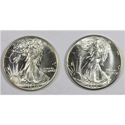 (2) WALKING LIBERTY HALF DOLLARS
