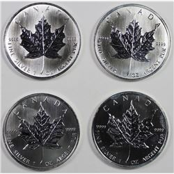 4 PIECE CANADA 1 OZ .999 MAPLE LEAVES