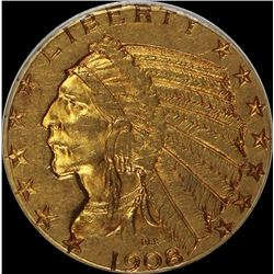 1908 $5.00 GOLD INDIAN