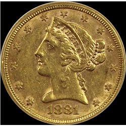 1881 $5.00 GOLD LIBERTY