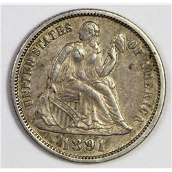 1891 SEATED DIME