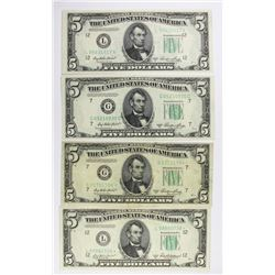 (3) 1950-A $5.00 FEDERAL RESERVE NOTES