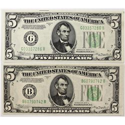 TWO 1934-A $5.00 FEDERAL RESERVE NOTES