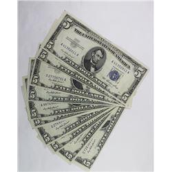 10 PIECE 1953 $5.00 SILVER CERTIFICATES