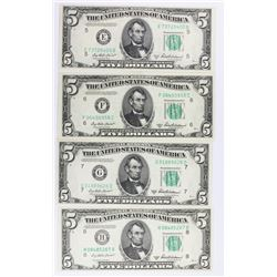 (4) 1950-B $5.00 FEDERAL RESERVE NOTES