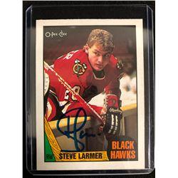 STEVE LARMER SIGNED UPPER DECK HOCKEY CARD
