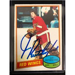 JIM RUTHERFORD SIGNED VINTAGE RED WINGS HOCKEY CARD