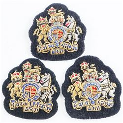 Lot (3) Queens Crown British Nato Issue Warrant Officer's - Bullion Wire Dress Sleeve Badges