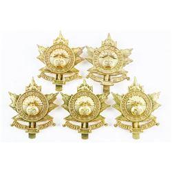 Lot (5) Queen's Crown Fusiliers De Sherbrooke Cap Badges