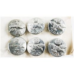 lLot (6) RCAF Kings Crown Rhodium Small Buttons