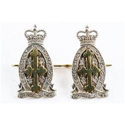 Lot (2) Pair Queen's Crown Le Regt. 'De Chateaugray' Arm Badges