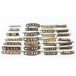 Group of (9 PRS) and 10 Singles Brass WWII Era CANADA Titles