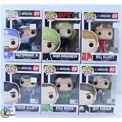 LOT OF SIX FUNKO POPS: ASSORTED NASCAR & UFC PACK.