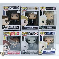 LOT OF SIX FUNKO POPS:ASSORTED MOVIES PACK.