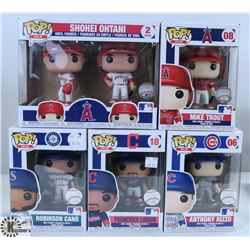 LOT OF FIVE FUNKO POPS: ASSORTED MLB PACK.