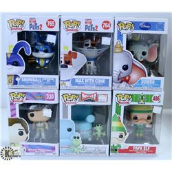 LOT OF SIX FUNKO POPS : ASSORTED VARIETY PACK.
