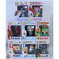LOT OF EIGHT FUNKO POPS: ASSORTED VARIETY PACK.