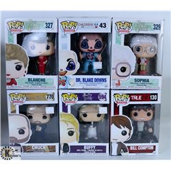 LOT OF SIX FUNKO POPS: ASSORTED TV SHOW PACK.