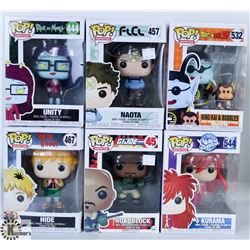 LOT OF SIX FUNKO POPS: ASSORTED ANIMATION PACK.