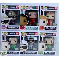 LOT OF SIX FUNKO POPS: NASCAR & FOOTBALL PACK.