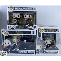 LOT OF THREE FUNKO POPS: GAME OF THRONES PACK.