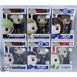 LOT OF SIX FUNKO POPS: UFC/ WWE & FOOTBALL PACK.