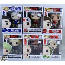 LOT OF SIX FUNKO POPS: UFC/ WWE & FOOTBALL PACK