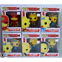 LOT OF SIX FUNKO POPS: ASSORTED SIMPSONS PACK.