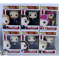 LOT OF SIX FUNKO POPS: ASSORTED ROYALS PACK.