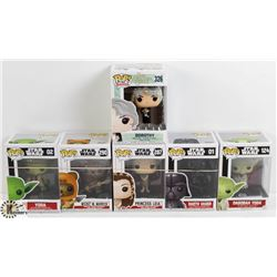LOT OF SIX FUNKO POPS: STAR WARS AND DOROTHY.