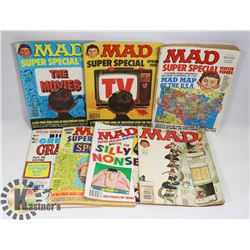 LARGE FLAT OF VINTAGE 1980'S MAD MAGAZINE W/ SOME