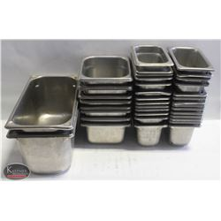 LOT OF ASSORTED STAINLESS STEEL FOOD INSERTS
