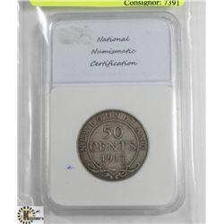 1917C NEWFOUNDLAND 50 CENT COIN