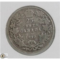 1910 CANADIAN KING EDWARD 25 CENT COIN
