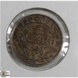 1941C NEWFOUNDLAND 5 CENT COIN