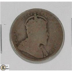 1902H CANADIAN KING EDWARD 25 CENT COIN