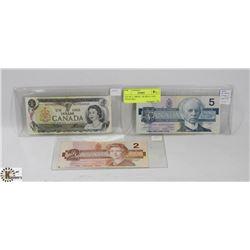 LOT OF 3 CANADIAN BILLS INCL 1986 $5 + $2 BILLS  &