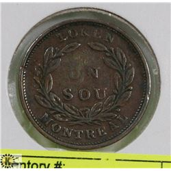 1836 UN SOU BANK OF MONTREAL TOKEN.