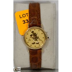 LADIES LEATHER BAND GOLD TONE MICKEY MOUSE WATCH