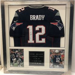 Framed and Signed New England Patriots Football Jersey