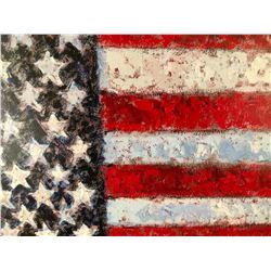 """Samir Sammoun """"FREEDOM"""" homage to Johns, mini Flag"""