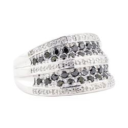 1.00 ctw Black and White Diamond Ring - 14KT White Gold