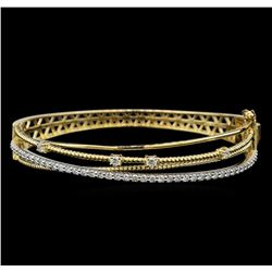 1.31 ctw Diamond Bangle Bracelet - 14KT Yellow and White Gold