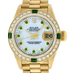 Rolex Ladies 18K Yellow Gold MOP Emerald President Wristwatch With Rolex Box & A