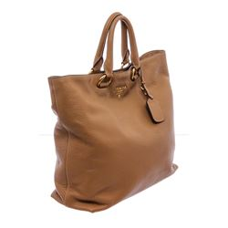 Prada Tan Leather Double Handle Tote Bag
