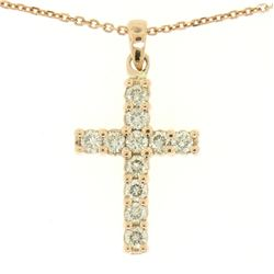 "14k Rose Gold 0.75 ctw Round Brilliant Diamond Petite Cross Pendant w/ 16"" Chain"