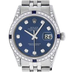 Rolex Mens Stainless Steel Diamond Lugs Blue Diamond & Sapphire Datejust Wristwa